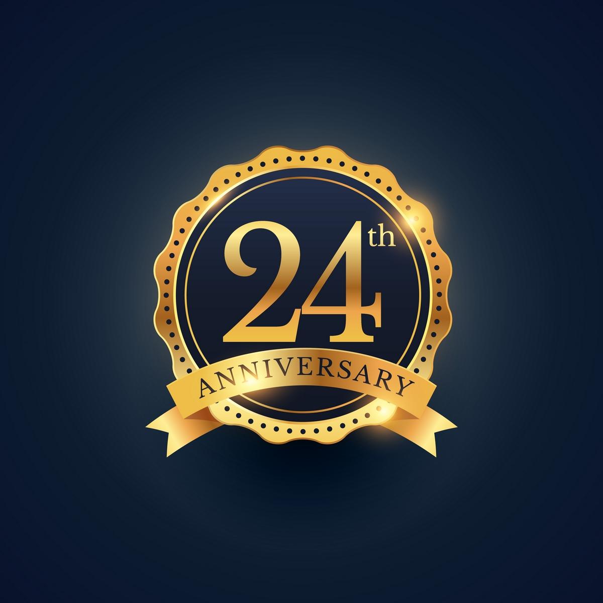 24th anniversary celebration badge label in golden color